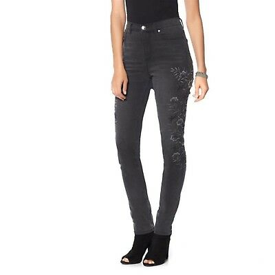 DG2 Diane Gilman Stretch Embroider Skinny Jean Woven WASH BLACK 18WP NEW 560-497