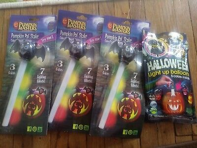 NIP Halloween carved pumkin pal lights bats light up balloons color changing NEW