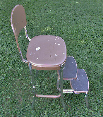 Vintage Stylaire STEP STOOL kitchen metal 60s side chair cosco style