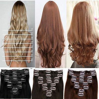 Curly Straight Hair Extensions Extentions Full Head OR Half head Synthetic brown