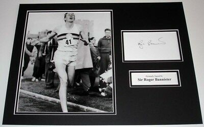 Roger Bannister 4 Minute Mile Personally Hand Signed Autograph Photo Mount