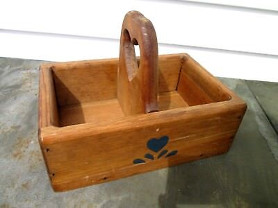 primitive VINTAGE old LARGE WOOD HEART HANDcrafted divided heavy TOTE