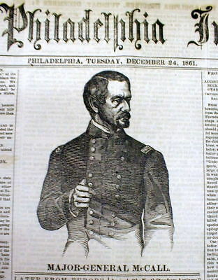 1861 Civil War newspaper PHILADELPHIA INQUIRER w portrat GENERAL GEORGE A McCALL