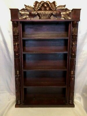 """Antique Carved Wooden 5 Shelf Standing/Wall Unit 29"""" T x 18"""" W x 4 1/2"""" D ExCond"""