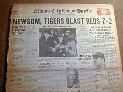 6 1940 newspapers CINCINNATI REDS win BASEBALL WORLD SERIES over DETROIT TIGERS