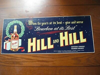 Hill and Hill Whiskey cardboard ad sign with Christmas theme