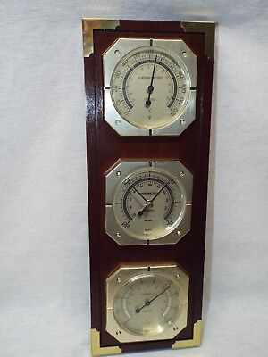 Old Vintage Springfield Weather Station Thermometer Barometer Humidity w/ Key
