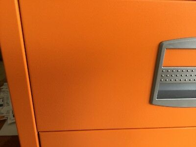 Dark Orange Bisley lockable filing cabinet