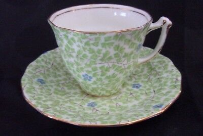 Sampson Smith Old Royal Bone China Chintz Demitasse Cup & Saucer Green Leaves