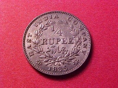 East India Company 1/4 Rupee Silver 1835 William Iiii Au