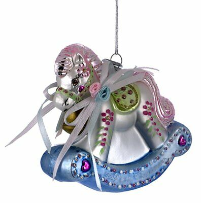 Noble Gems Babys First Christmas Rocking Horse Glass Christmas Ornament C4515