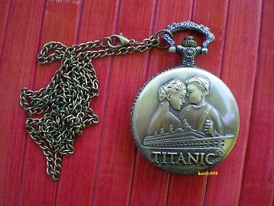 """🕑 RMS Titanic Pocket Watch """"Rose & Jack"""" with pendant Chain"""