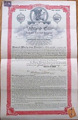 Mills & Gibb 1900 Stock/Bond Certificate Signed by JOHN GIBB & WILLIAM T. EVANS