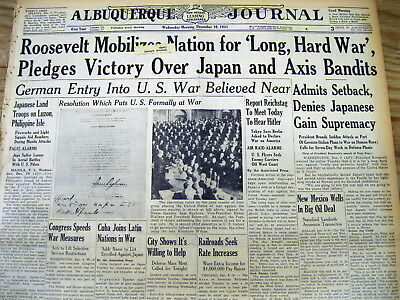 2 1941 WW II newspapers JAPANESE ATTACK PEARL HARBOR Hawaii & DECLARE WAR on US