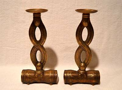 Unique Pair Of Vintage Mid-Century Brass Chinese Asian Candle Holders
