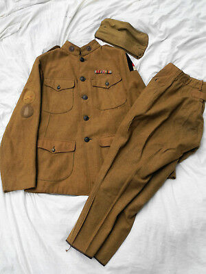 WW I US ARMY Uniform FIRST ARMY Artillery RIBBON Trousers Overseas Cap TUNIC