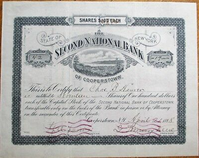 Second National Bank of Cooperstown, NY 1898 Stock Certificate - New York