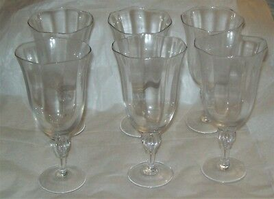 Set of 6 Clear Glass Water or Iced Tea Goblets - Gorham?