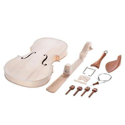 DIY 4/4 Full Size Natural Solid Wood Acoustic Violin Fiddle Kit Full Acces U5C9