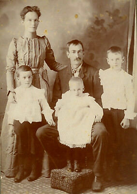 Antique Photo Cabinet Card BEAUTIFUL FAMILY BOYS BABY FASHION STEVENS POINT WIS