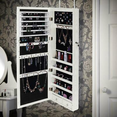 "47.2"" Jewelry Mirror Storage Wall/Door Mounted Dressing Mirror With LED Light"