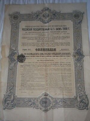 Vintage share certificate Stock Bonds imperial Russian state loan 1909