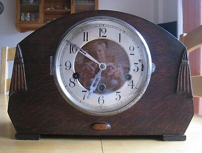 Wood Cased Mantle Clock With Silver Type Surround To Door - Westminster Chimes