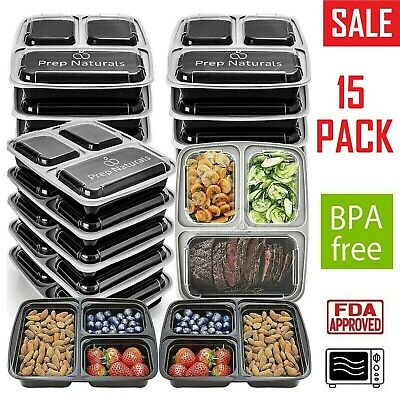 32 Pack Meal Prep Containers Food Storage 3 Compartment Reusable Microwave Safe