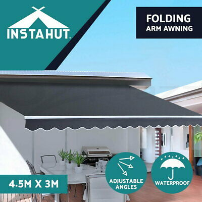Instahut 4.5M x 3M Outdoor Folding Arm Awning Retractable Sunshade Canopy Grey