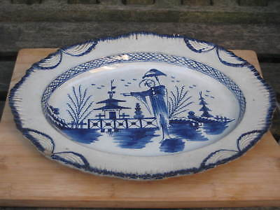 Liverpool Pearlware Long Elisa Large Platter Late 18Th Century Early 19Th C