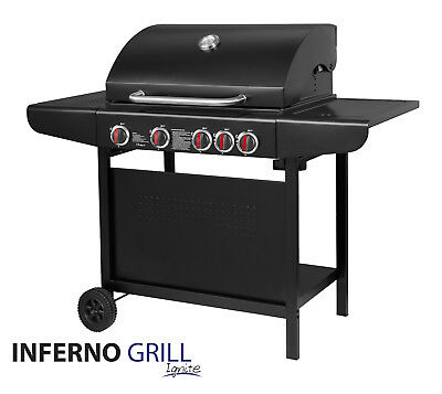 InfernoGrill Ignite 4+1 Outdoor Gas BBQ Black Barbecue Grill Side Burner **SALE