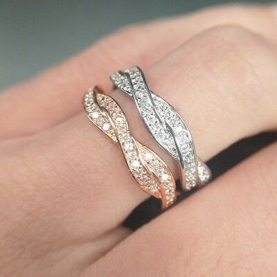 Exquisite Round White/Rose Gold Anniversary Rings Stackable Wedding Band Jewelry