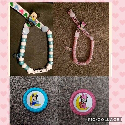 **baby Mickey Or Minnie Mouse** Personalised Dummy Clips, *free Mam Ring* L@@k!!