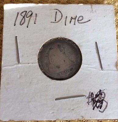 1891 Antique Silver Seated Liberty U.s. Dime Coin
