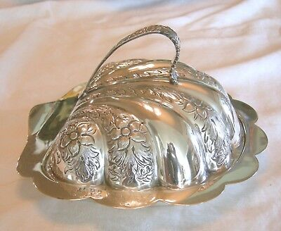 Stunning ENGLISH SILVERPLATE SILVER PLATE COVERED CHEESE BUTTER DISH