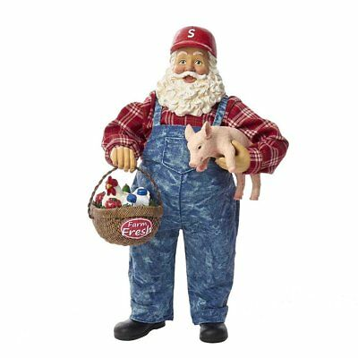 Farmer Santa Claus with Pig Fabriche Christmas Figurine 11 Inch C7465 Farming
