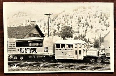 RIO GRANDE SOUTHERN RAILROAD Galloping Goose Engine & Rail Car #3 ca1950s RPPC