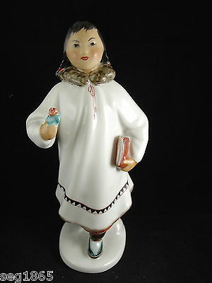 Russian Lomonosov Figure Of A Eskimo / Inuit Girl With Flower And Book