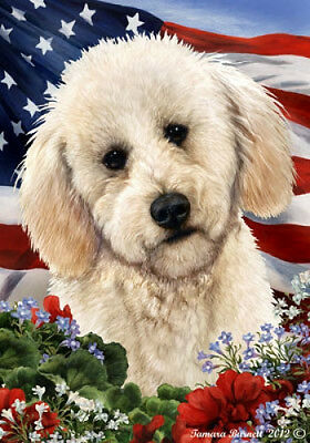 Large Indoor/Outdoor Patriotic I Flag - White Labradoodle 16285