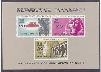 Togo 478a MNH 1964 UNESCO Campaign to Save Monuments in Nubia Souvenir Sheet VF