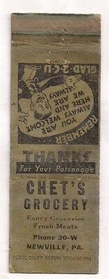 Chet's Grocery, Groceries Meats Newville PA Cumberland Matchcover 071518