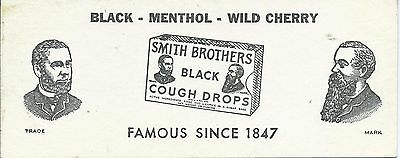 Smith Brothers Cough Drops Ink Blotter Advertising ... Unused.