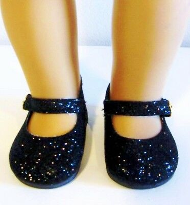 BLACK GLITTER SPARKLE Shoes for 18 Inch Dolls, American Girl Doll