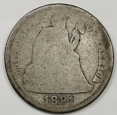 1891-s Liberty Seated Dime.  Circulated.  102477