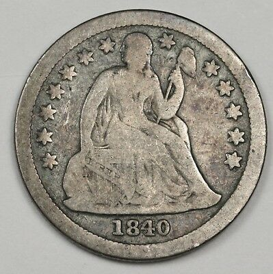 1840 Seated Liberty Dime.  With Drapery.  About Fine.  123170