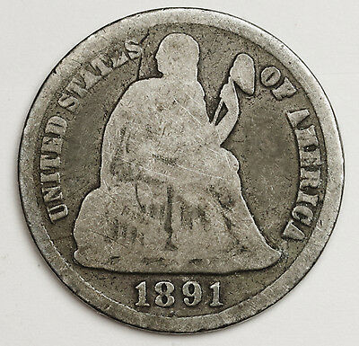 1891-s Liberty Seated Dime.  Circulated.  100695