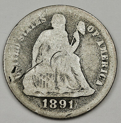 1891-s Liberty Seated Dime.  Circulated.  100693
