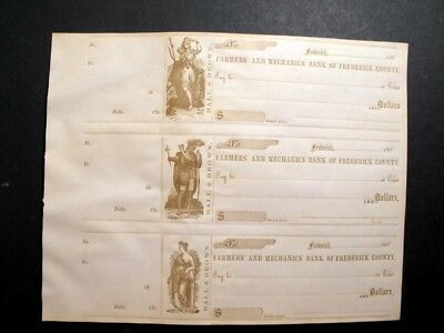 Old Orig Antique 1860s Uncut Sheet of 3 Civil War Era Bank Checks Frederick, MD