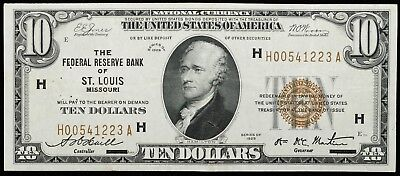 1929 $10 Federal Reserve Bank Of St Louis Missouri Note Vf Staple Holes (223A)