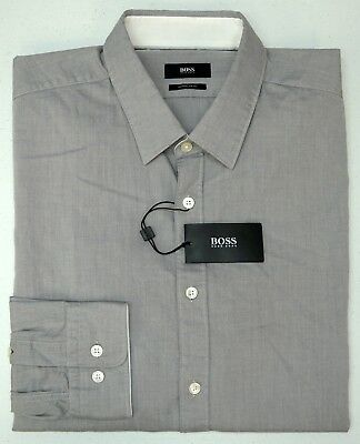 d00db861b Orig $145 Hugo Boss Shirt LS Mens 2XL Lukas_51 50373051 410 Regular Fit Gray  NEW
